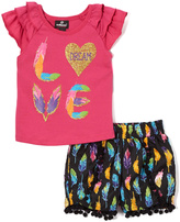 Dollhouse Pink 'Love Flutter-Sleeve Top & Shorts - Infant, Toddler & Girls