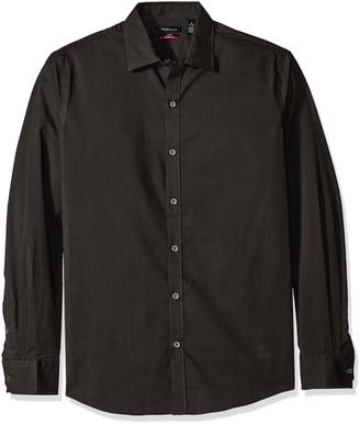 Van Heusen Men's Flex Long Sleeve Stretch Shirt Black Stripe Large