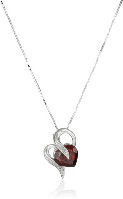 Amazon Collection 10k White Gold Garnet and Diamond Accent Heart-Shape Pendant Necklace 18""