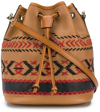 Etro Embroidered Style Drawstring Bucket Bag