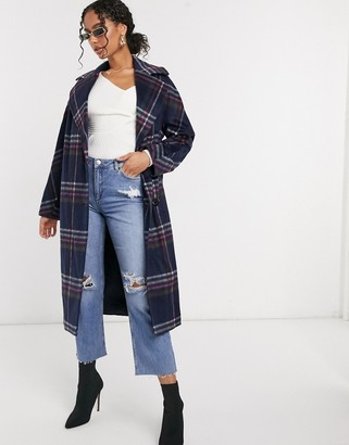 Helene Berman wool-blend double-breasted oversized coat in blue check