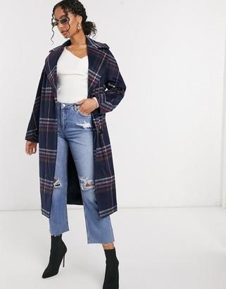 Helene Berman wool blend double breasted oversized coat in blue check