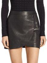 Alice + Olivia Lennon Leather Overlap Mini Skirt