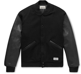 Wacko Maria Leather And Logo-embroidered Wool And Cashmere-blend Bomber Jacket - Black