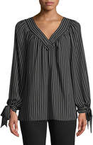 Max Studio V-Neck Tie-Cuff Striped Blouse