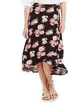 Bobeau Floral Print Faux Wrap Skirt