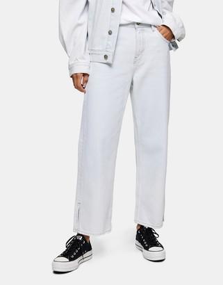 Topshop straight leg jeans in bleach blue