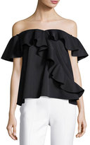 Sachin + Babi Winnie Ruffled-off-the-Shoulder Satin Top, Jet