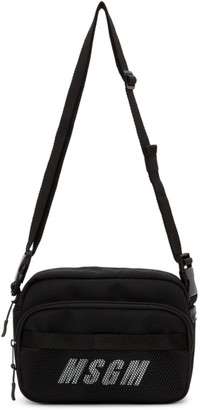 MSGM Black Logo Messenger Bag
