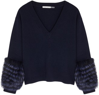 Alice + Olivia Shiela fur-trimmed stretch-wool jumper