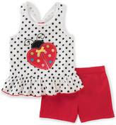 Kids Headquarters White Polka Dot Tank & Red Shorts - Infant Toddler & Girls