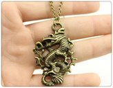 Nobrand No brand antique bronze tone 50*35mm dragon pendant necklace, 70cm chain long necklace