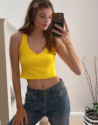 Weekday Novella v-neck rib tank top in warm yellow
