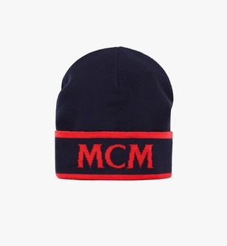 MCM Contrast Logo Wool Beanie