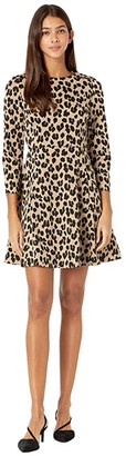 Kate Spade Forest Feline Jacquard Knit Dress (Silt) Women's Dress