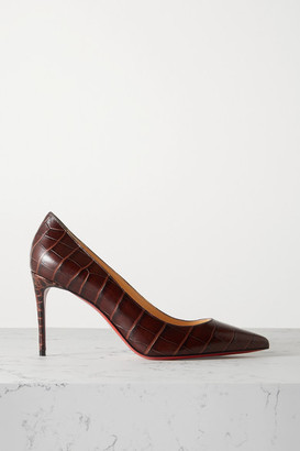 Christian Louboutin Kate 85 Croc-effect Leather Pumps - Brown