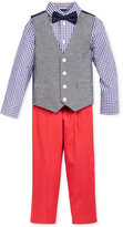 Nautica 4-Pc. Gingham Shirt and Chambray Vest Set, Toddler & Little Boys (2T-7)