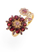 Kate Spade Gold Plated Swavorski Trellis Bloom Two Finger Ring