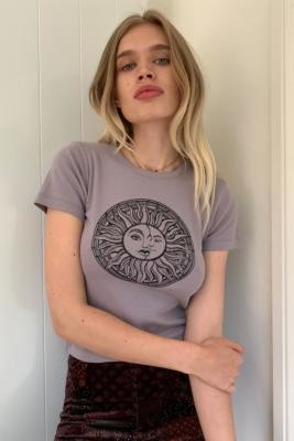 Urban Outfitters Celestial Sun Baby T-Shirt - Grey S at