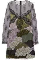 Nina Ricci Satin-Paneled Embroidered Lace Dress