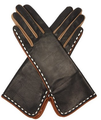 Agnelle Diane Topstitched Leather Gloves - Black Multi