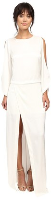 Halston Women's Longsleeve Boatneck Gown with High Slit