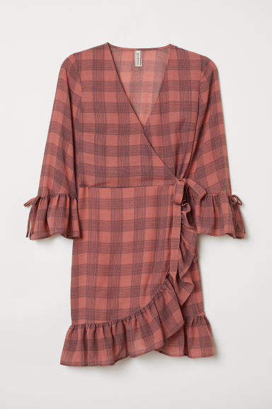 H&M Patterned Wrap-front Dress - Pink