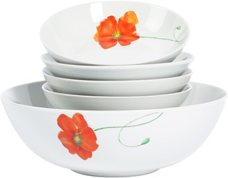 Tabletops Unlimited Tabletops Gallery 5-Piece Poppy Round Pasta Set