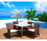 Atlantic Furniture Cape Deluxe 5-Piece Wicker Square Patio Dining Furniture Set