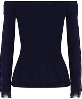 Oscar de la Renta Off-the-shoulder Chiffon-trimmed Wool And Silk-blend Sweater - Navy
