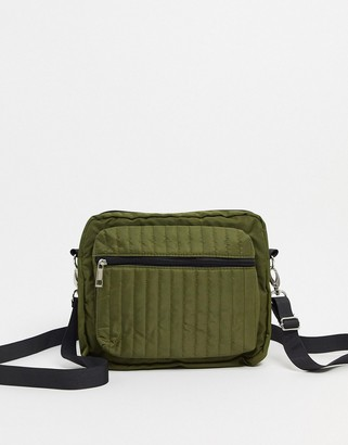 Pieces quilted cross body bag in khaki
