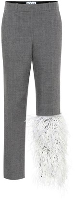 Loewe Feather-trimmed wool pants