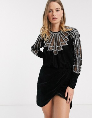 ASOS DESIGN mini dress in velvet with diamante embellished neckline