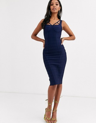 Band Of Stars extreme bandage strappy bust paneled midi dress in navy