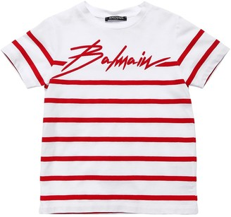 Balmain Flocked Stripe Cotton Jersey T-shirt