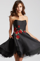 Jovani 55136 Strapless Rose Applique Cocktail Dress