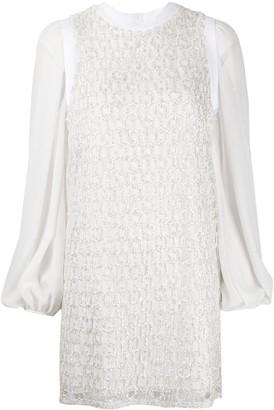 Giamba Glitter Panel Mini Dress
