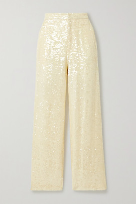 Sally LaPointe Paillette-embellished Georgette Straight-leg Pants - Cream