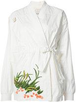 MHI embroidered Arctic kimono - women - Cotton/Nylon - 8