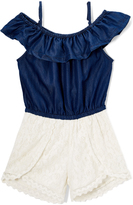 Dollhouse Dark Indigo Wash & Cream Off-Shoulder Romper - Infant & Girls