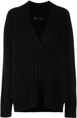 Proenza Schouler Oversized Wool Cashmere V-Nneck Knit Top