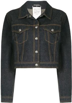 Chanel Pre Owned Contrast Stitch Denim Jacket