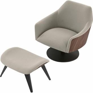 Modloft Black Henry Swivel Lounge Chair and Ottoman Black Upholstery Color: Oxford Tan/Walnut