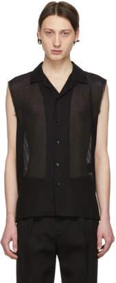 Saint Laurent Black Wool Sleeveless Shirt