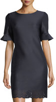 Donna Ricco Ruffle-Sleeve Shift Dress
