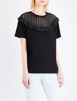 Sandro Open-knit and cotton-jersey top