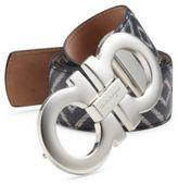 Salvatore Ferragamo Chevron Reversible Leather Belt