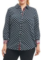 Foxcroft Plus Ava Dots Button-Down Shirt