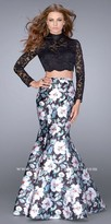 La Femme Scalloped Two Piece Long Sleeve Floral Print Prom Dress