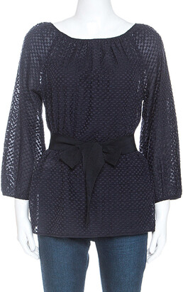 Carolina Herrera CH Navy Blue Cotton Embroidered Belted Top S